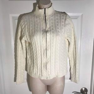 LL. Bean White Knitting Braiding Jacket. Small